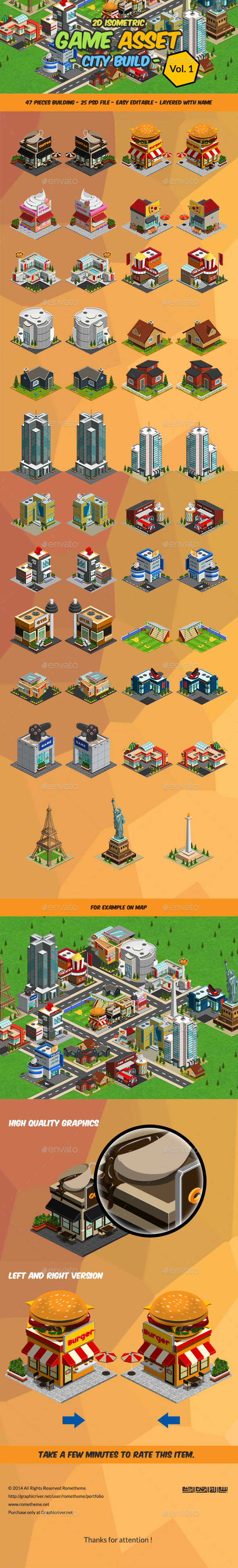 2D Isometric Game Asset - City Build Vol 1 - Tilesets Game Assets