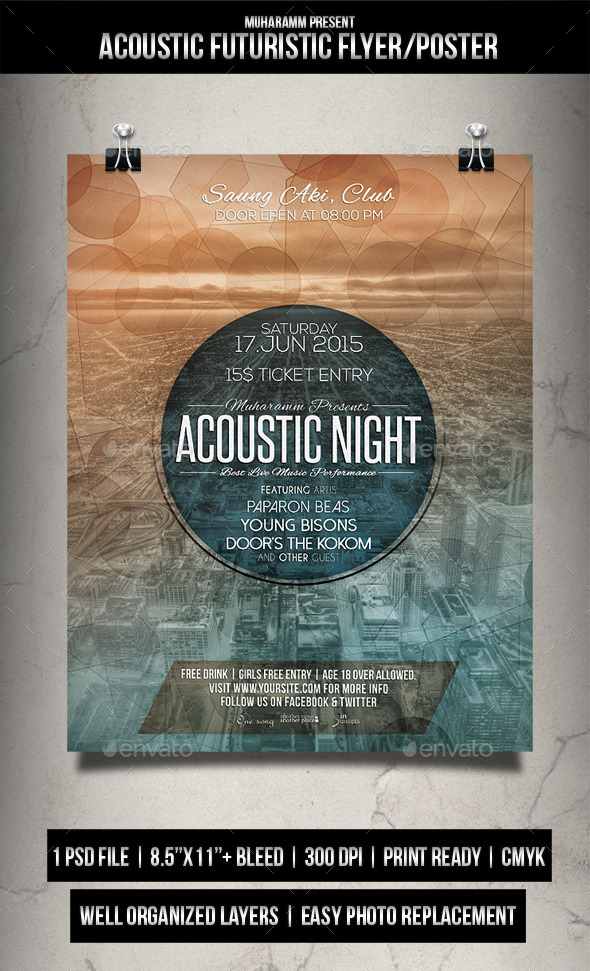 Acoustic Futuristic Flyer / Poster - Events Flyers