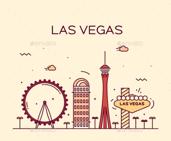 Las Vegas Skyline Vector Illustration Linear - Decorative Symbols Decorative