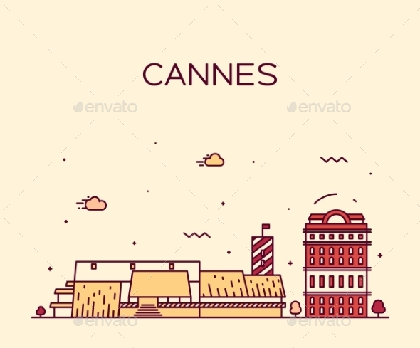 Cannes Skyline Trendy Vector Illustration Linear - Buildings Objects