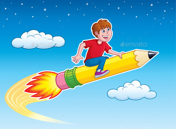 Boy Riding Rocket Pencil - People Characters