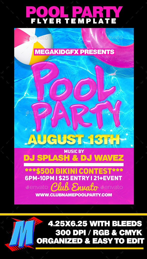 Pool Party Flyer Template by MegaKidGFX | GraphicRiver