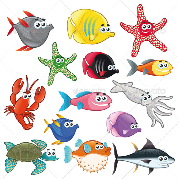 Family of Funny Fish - Animals Characters