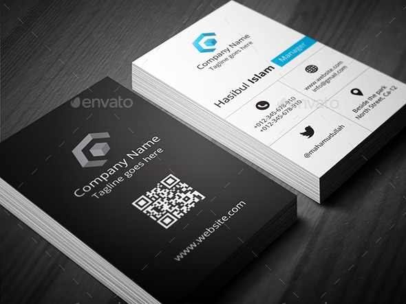 Creative Vertical Business Card by hasscreation | GraphicRiver