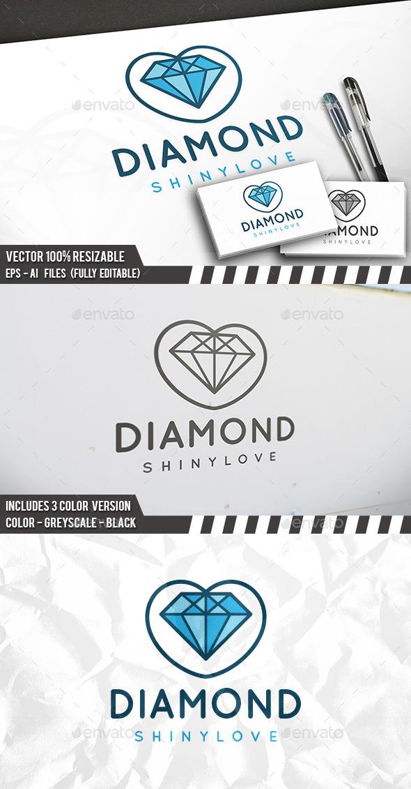 Diamond Love Logo - Objects Logo Templates