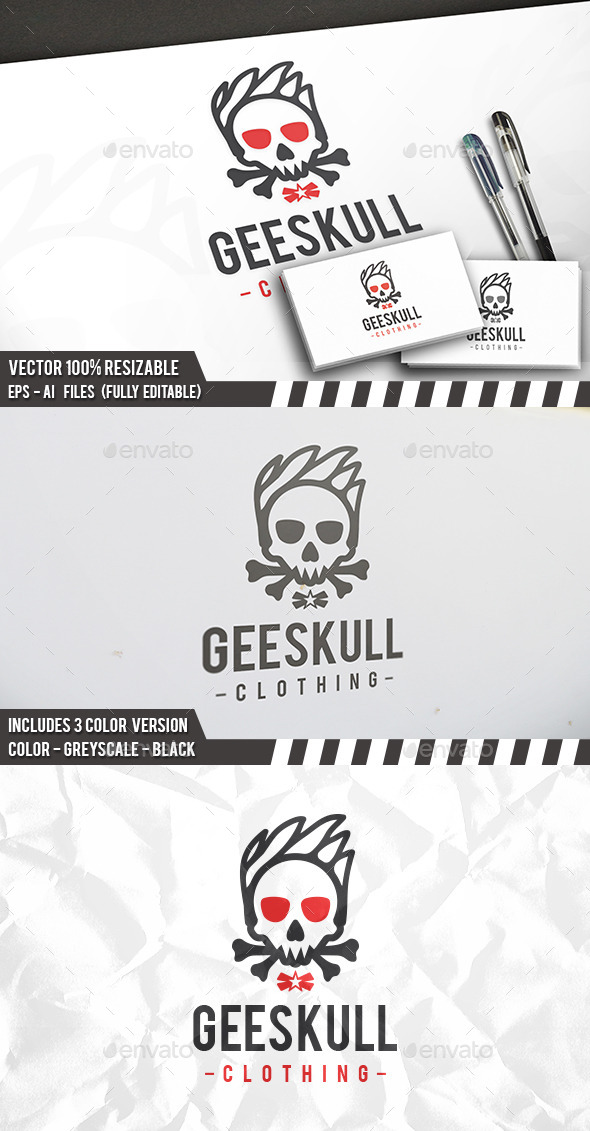 Geek Skull Logo - Humans Logo Templates