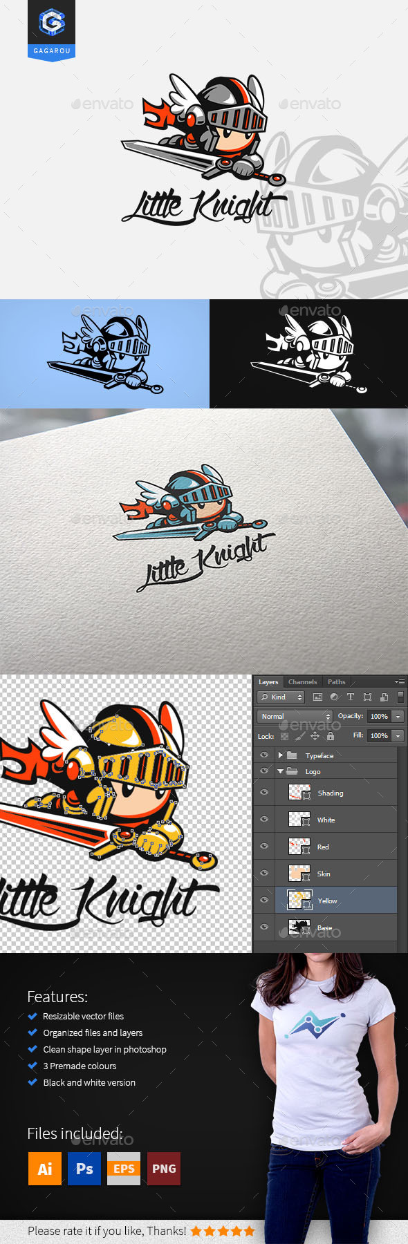 Little Knight logo - Humans Logo Templates