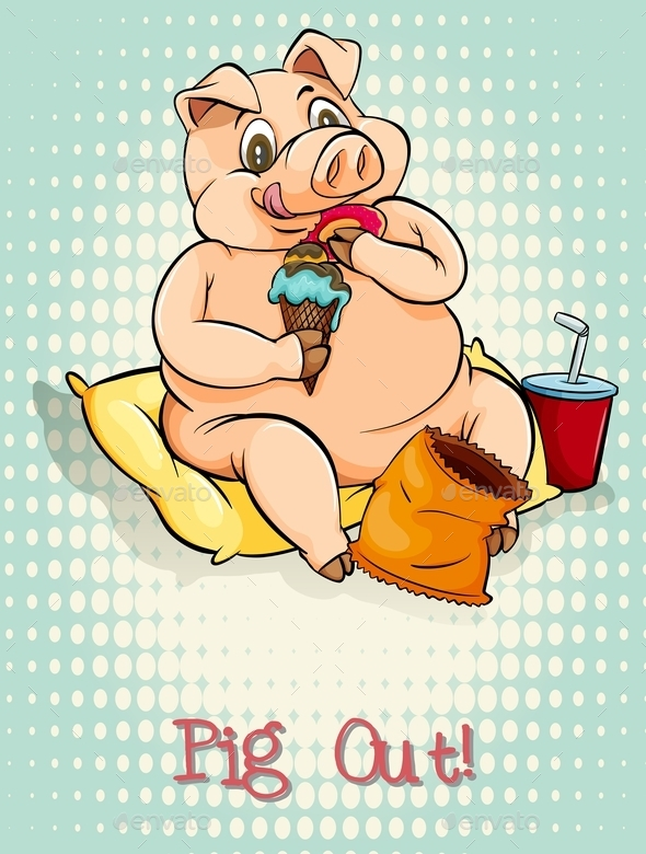 English Idiom Pig Out - Animals Characters