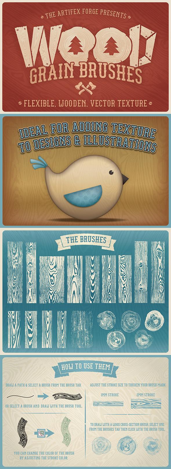 Wood Grain Brushes - Brushes Illustrator