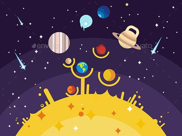 Solar System Flat Style - Miscellaneous Vectors