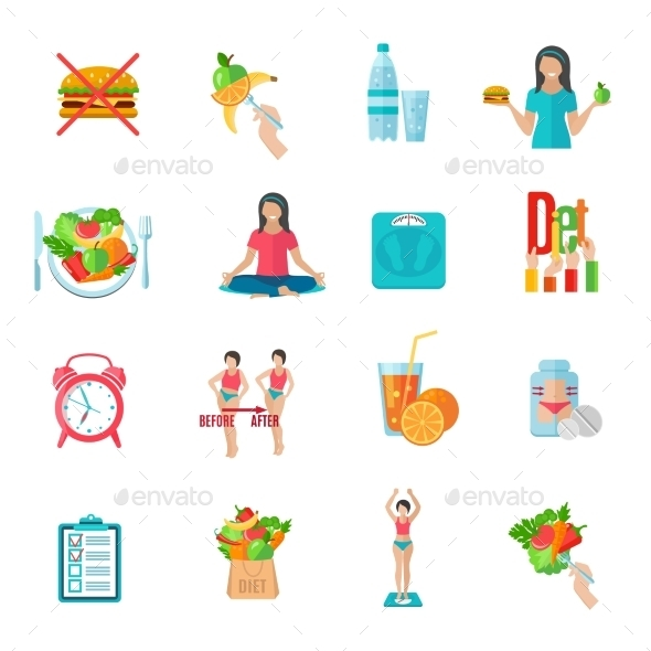 Weight Loose Diet Flat Icons Set - Miscellaneous Icons