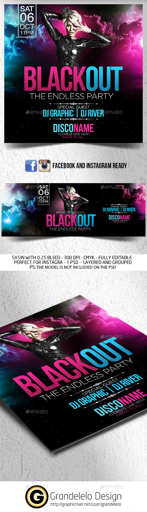 Blackout Flyer with FB and Instagram Template  - Clubs & Parties Events