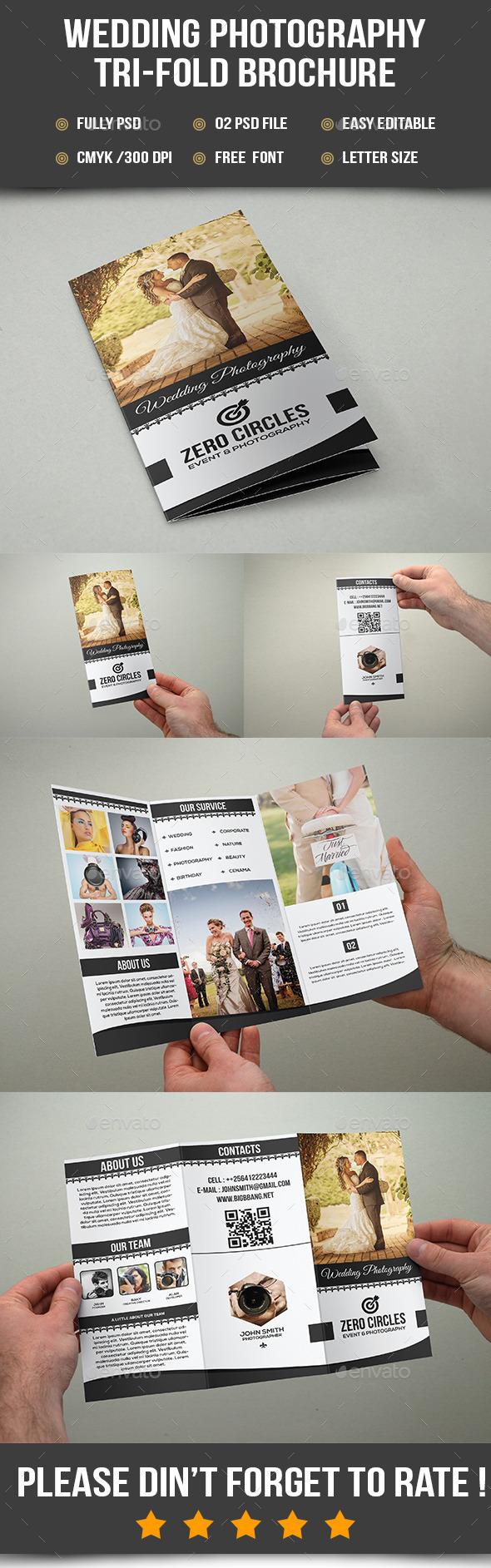 Wedding Photography Tri-Fold Brochure - Brochures Print Templates