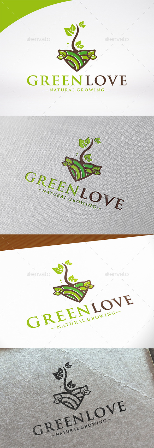 Green Love Logo Template - Nature Logo Templates