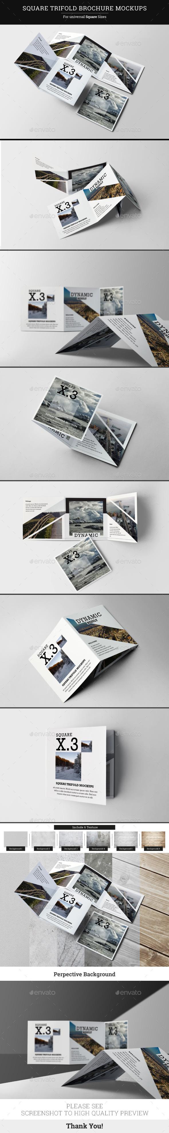 Square Trifold Brochure Mockups - Brochures Print