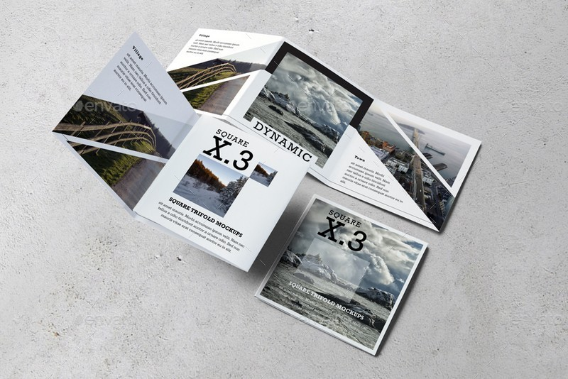 square trifold brochure mockups by kongkow graphicriver