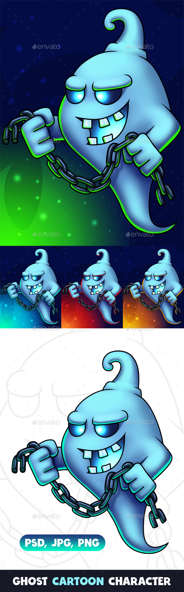 Ghost Cartoon Character Digital Painting - Characters Illustrations