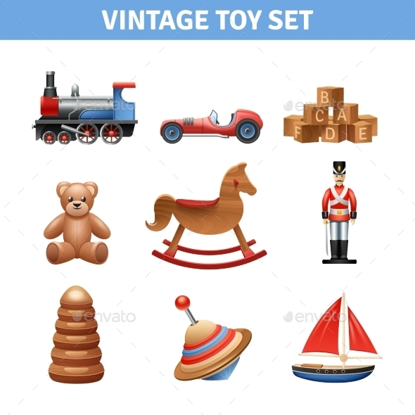 Vintage Toy Icons Set - Man-made Objects Objects