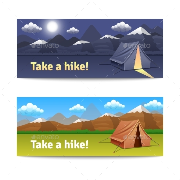 Adventure and Hike Banners Set  - Travel Conceptual