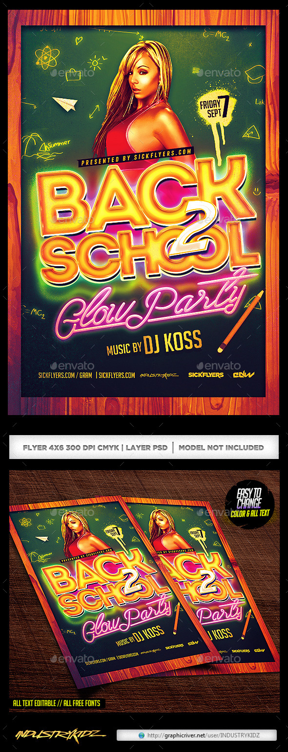 Back To School Glow Party Flyer - Clubs & Parties Events