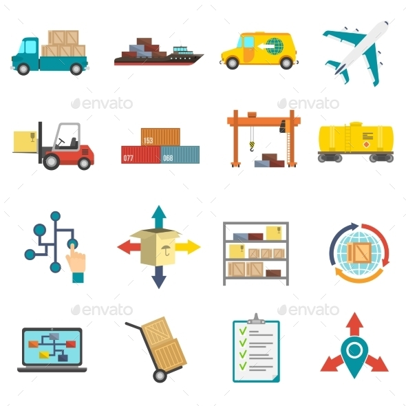 Logistics Flat Icons Set - Business Icons