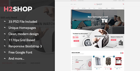 H2Shop – Multi-Purpose eCommerce PSD Theme