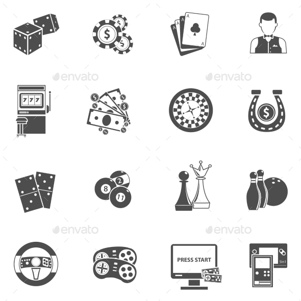 Casino Gambling Games Black Icons Set - Miscellaneous Icons