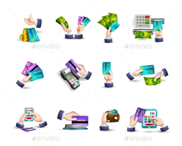 Hands Credit Card Payment Icons Set - Business Icons