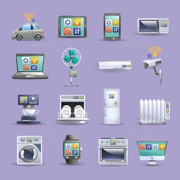 Internet Of Things Flat Icons Set - Technology Icons