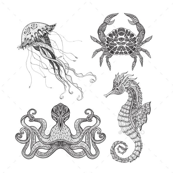 Sea Marine Doodle Set - Organic Objects Objects