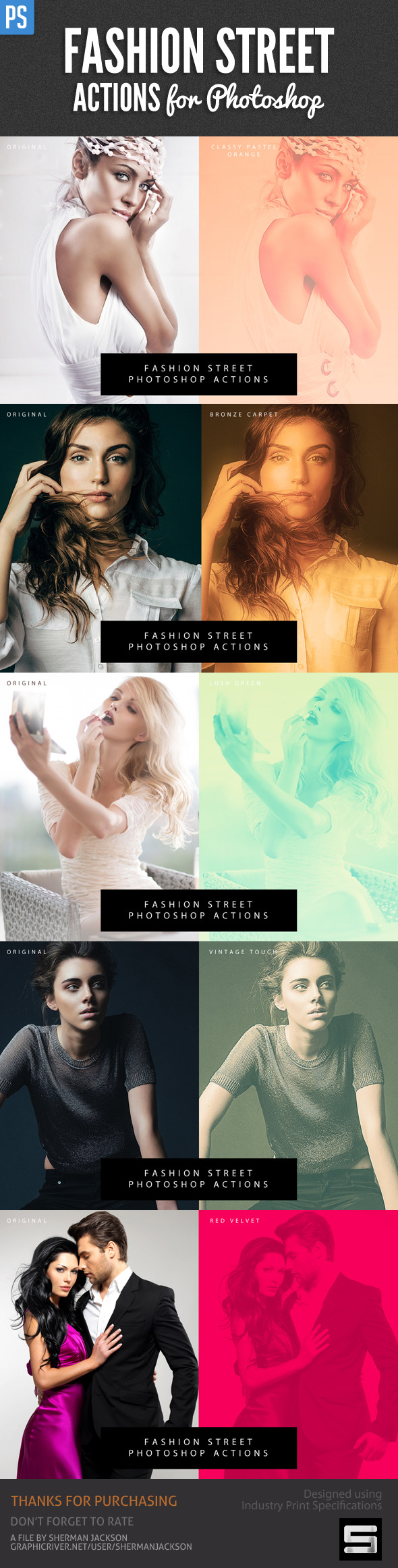 Fashion Street Actions for Photoshop - Photo Effects Actions