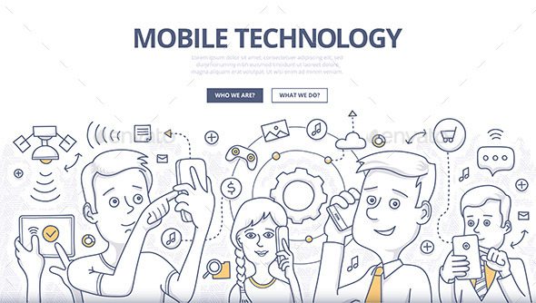Mobile Technology Doodle Concept - Communications Technology