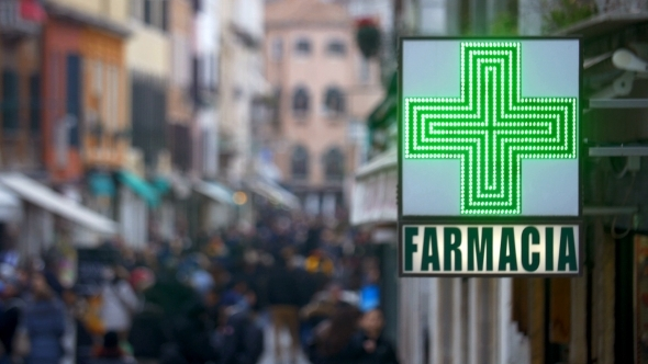 Signboard Of Pharmacy In Italy