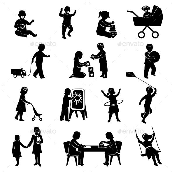 Children Black Set - People Characters