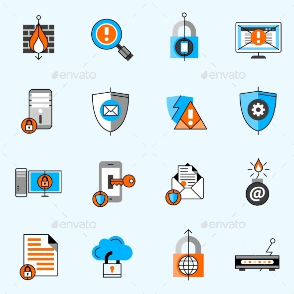 Data Security Line Icons Set - Technology Icons