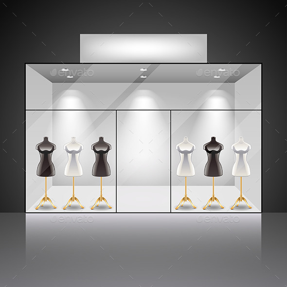 Illuminated Shop Showcase Interior with Mannequins - Backgrounds Decorative