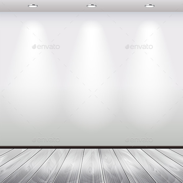 Empty Interior with White Wall and Spot Lights - Backgrounds Decorative
