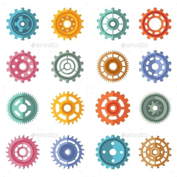 Various Style Color Gears Set - Decorative Symbols Decorative
