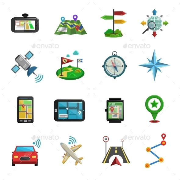 Location Flat Icon Set  - Objects Icons