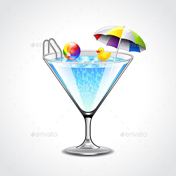 Swimming Pool in Martini Glass Vacation Concept - Travel Conceptual