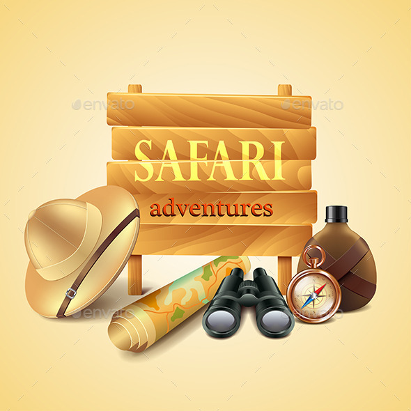 Safari travel Accessories Vector Background - Man-made Objects Objects