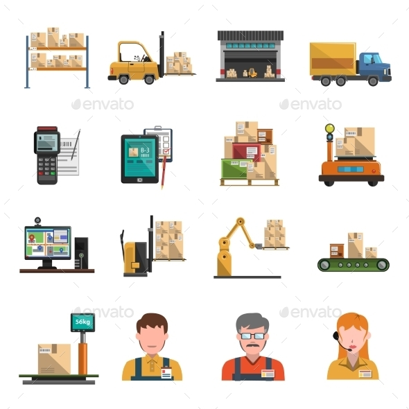 Warehouse Icons Flat - Miscellaneous Icons