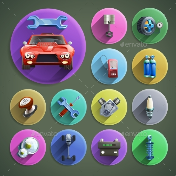 Car Repair Cartoon Icons Set - Miscellaneous Vectors