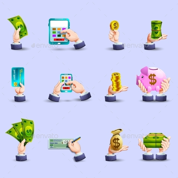 Hands Payment Flat Icons Set - Business Icons