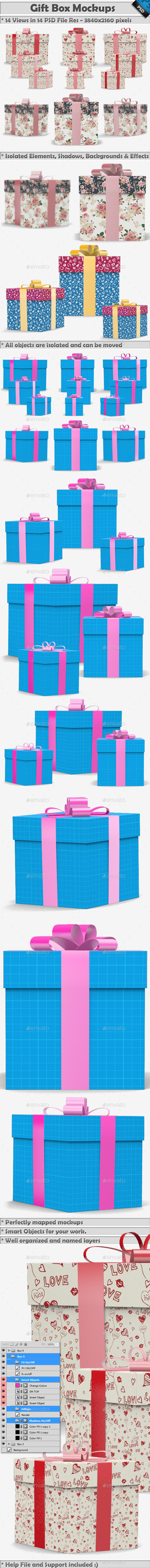 Gift Box Mockup - Miscellaneous Packaging