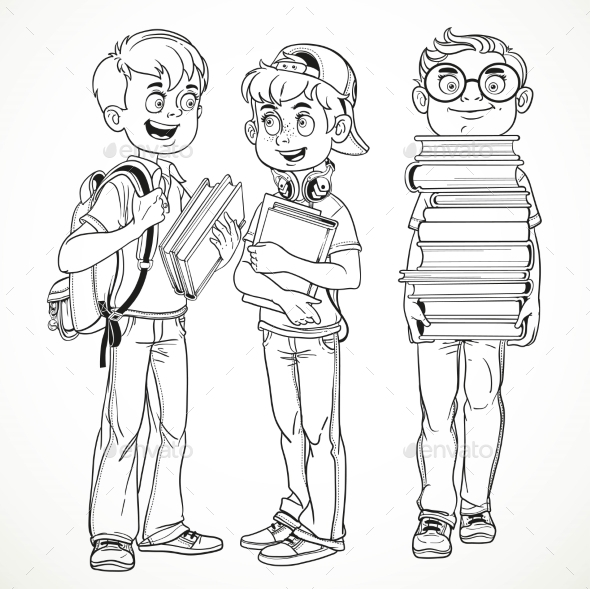 Schoolboys with Textbooks and Backpacks - People Characters