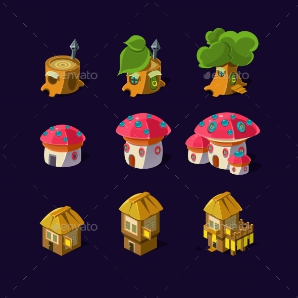 Cartoon Fairy Houses - Buildings Objects