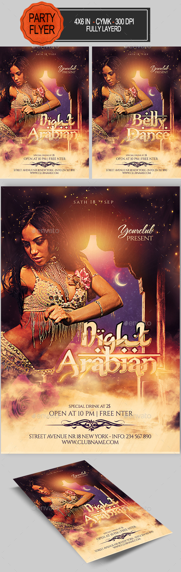 Arabian Belly Dance Party Flyer