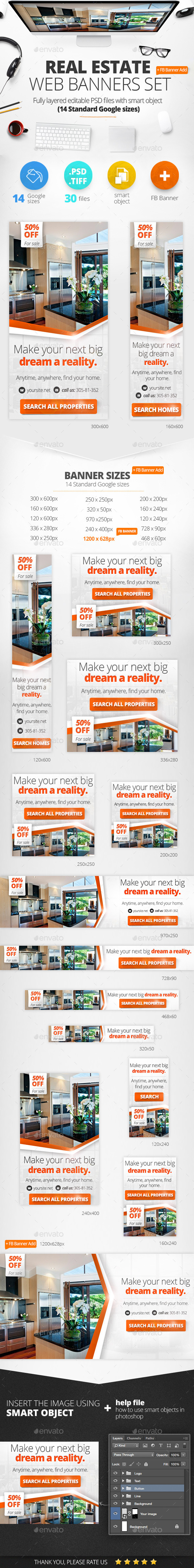 Real Estate Web Baners & Facebook Banner - Banners & Ads Web Elements