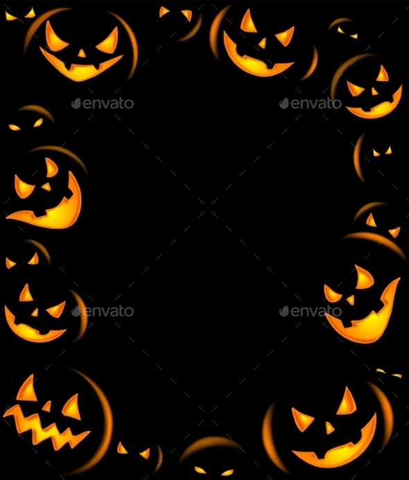 Frame of Grinning Halloween Lanterns - Halloween Seasons/Holidays